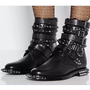 Genuine Leather studded spikey boots w/ straps